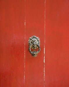 red door knocker