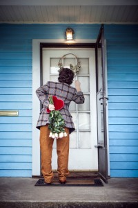 Man w Valentine at front door